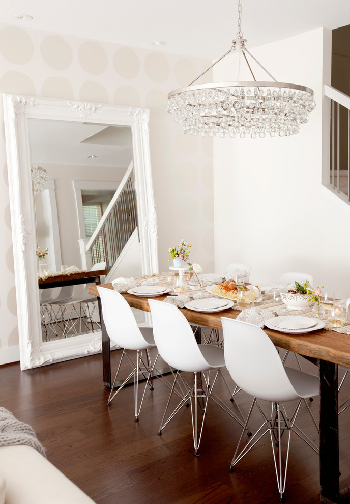 Example of a trendy dark wood floor great room design in Vancouver with white walls