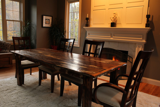 reclaimed barn board farm table farmhouse dining room new york