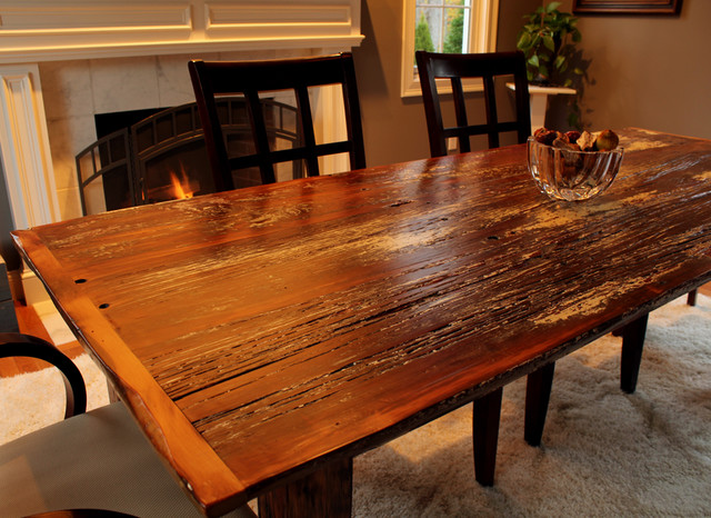 Reclaimed barn board farm table for Reclaimed dining room table