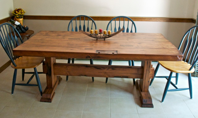 Reclaimed Barn Door Dining Table Rustic Room