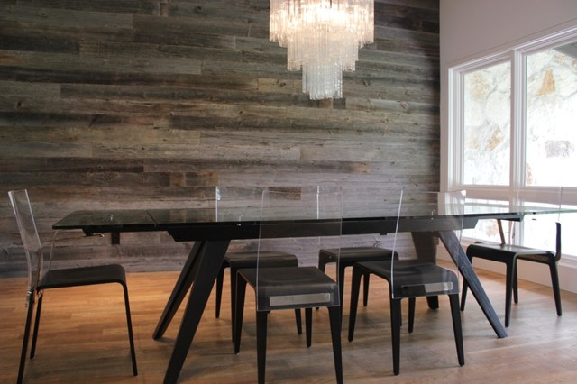 Reclaimed Barn Wood Walls Contemporary Dining Room Dallas By Urban Woods Company
