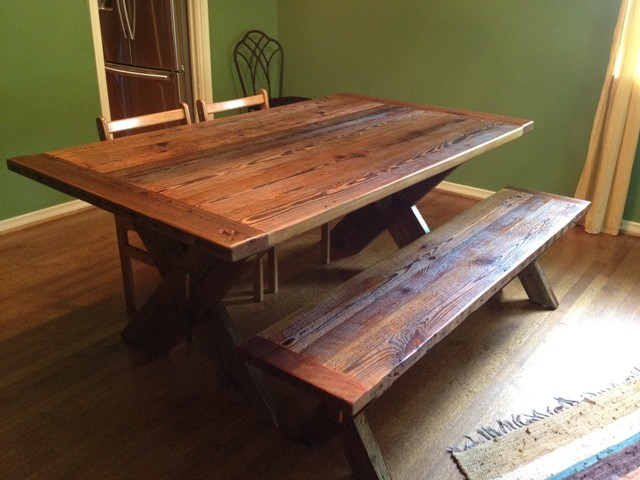 Nice Reclaimed Barnwood Dining Table Cross Leg Traditional Dining Room