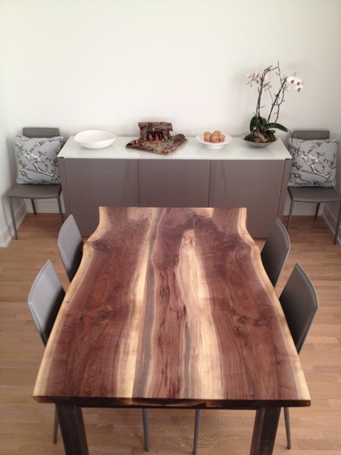 Reclaimed Black Walnut Live Edge Dining Table Modern Room
