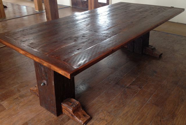 Reclaimed Dining Table From 1850s Hand Hewn Beams