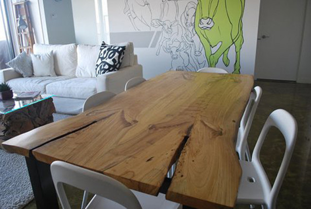Awesome Reclaimed Elm Live Edge Slab Dining Table Modern Dining Download Free Architecture Designs Licukmadebymaigaardcom
