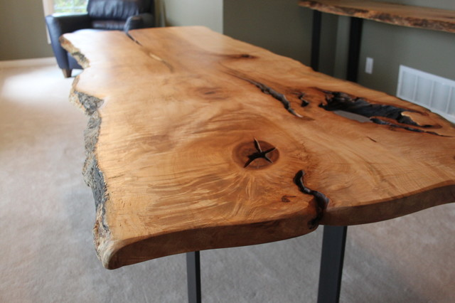 RECLAIMED LIVE EDGE MAPLE HARVEST TABLE WITH METAL BASE