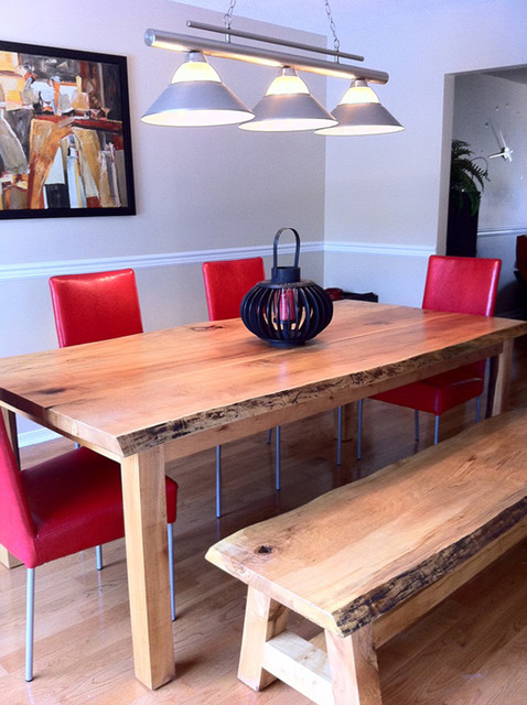 Reclaimed Maple Live Edge Slab Dining Table With Bench Contemporary Dinin