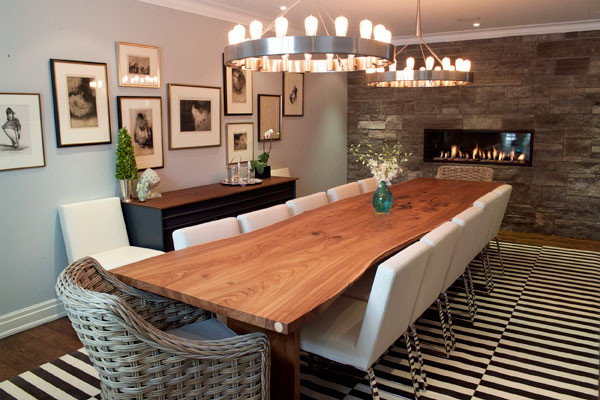 Reclaimed Siberian Elm Live Edge Slab Dining Table Contemporary Dining Room