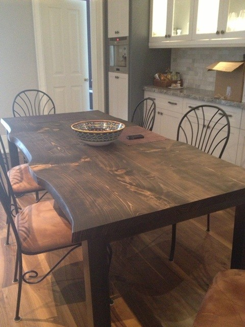 Reclaimed Spruce Live Edge Slab Kitchen Table Traditional Dining Room Toronto By Urban