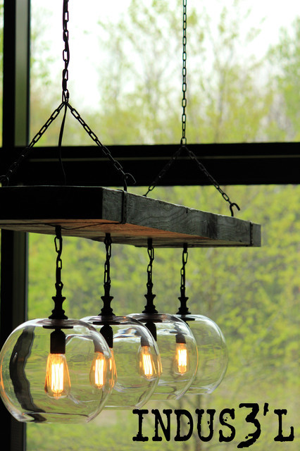 Reclaimed Wood Beam Chandelier With Globes Rustic Dining Room
