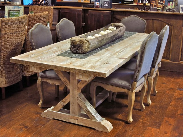 Reclaimed Wood Garden Trestle Table With Extensions Many