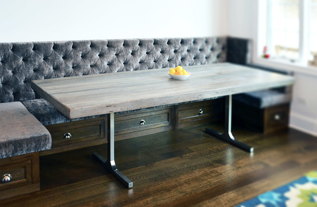 Reclaimed Wood Rustic Grey Modern Dining Table Rustic Dining Room Chicago By Abodeacious Houzz Uk