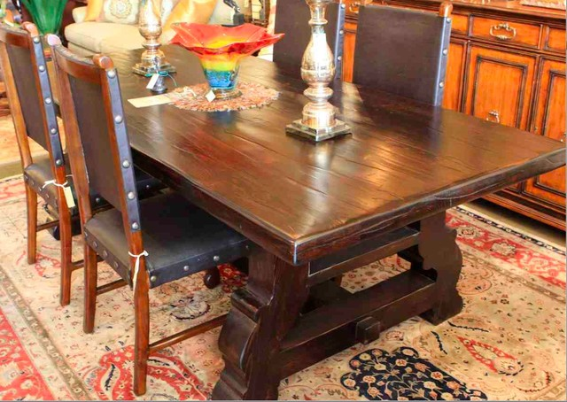 Reclaimed Wood Spanish Trestle Dining Table In A Distressed Dark Stain Finish Mediterranean Dining Room Los Angeles By Mortise Tenon Custom Furniture Store