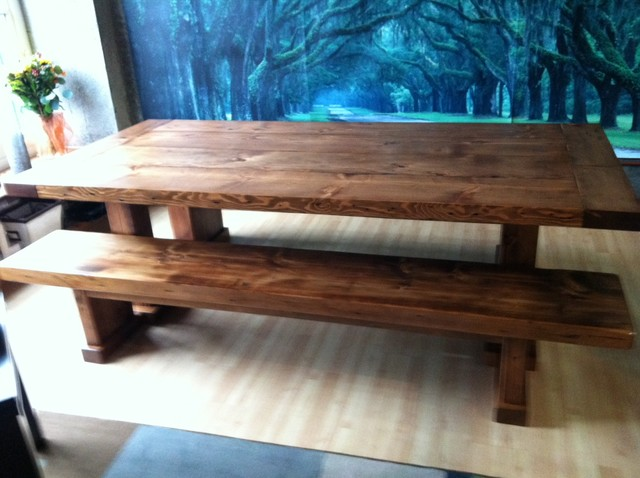 Reclaimed Wood Table And Benches Contemporary Dining Room