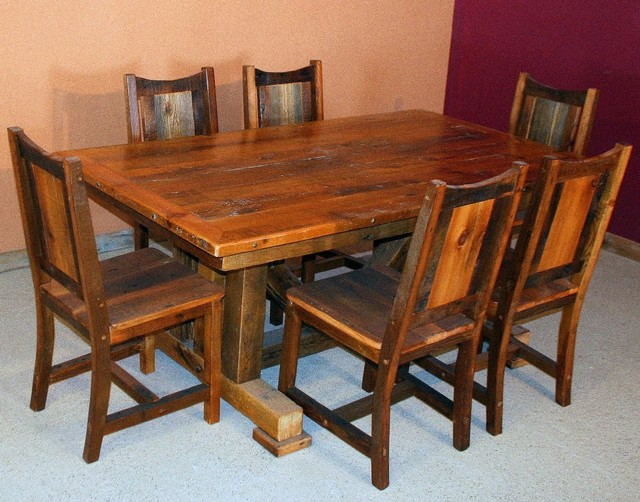 reclaimed wood tables traditional dining room