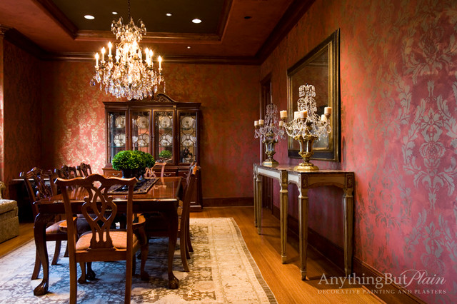 Red And Gold Dining Room With Stencil Pattern