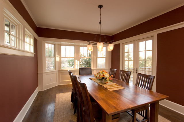 Dining Room Trim : Red dining room with white trim bay window and french