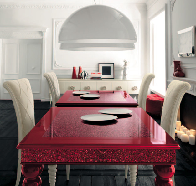 Red dining table with white high-backed chairs by AltaModa contemporary dining room