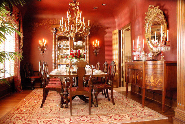 Red formal dining room for Traditional formal dining room ideas