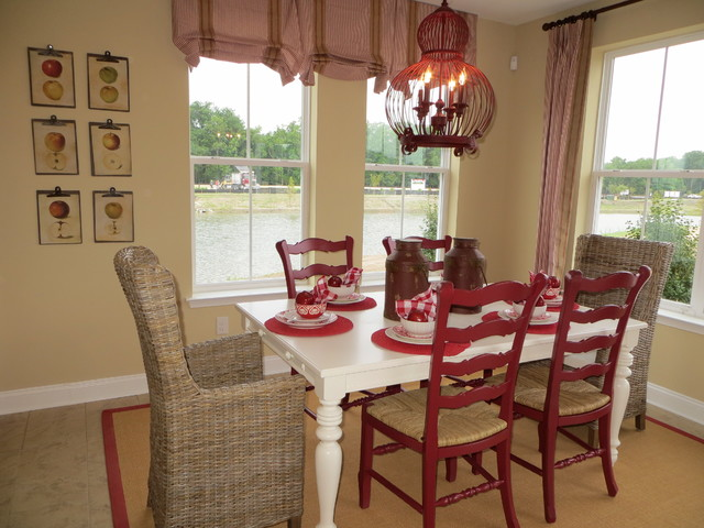 Red, tan and cream casual cottage style eclectic-dining-room