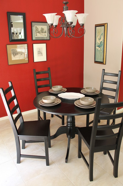 Red walls and black dining tables chairs eclectic for Dining room tables los angeles