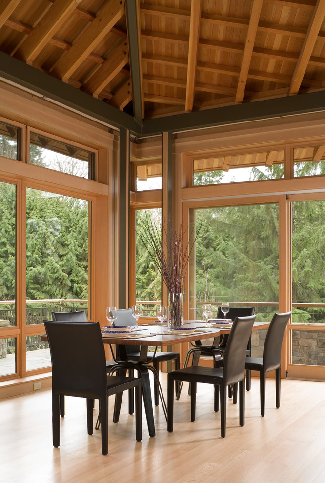 Inspiration for a contemporary light wood floor great room remodel in Seattle