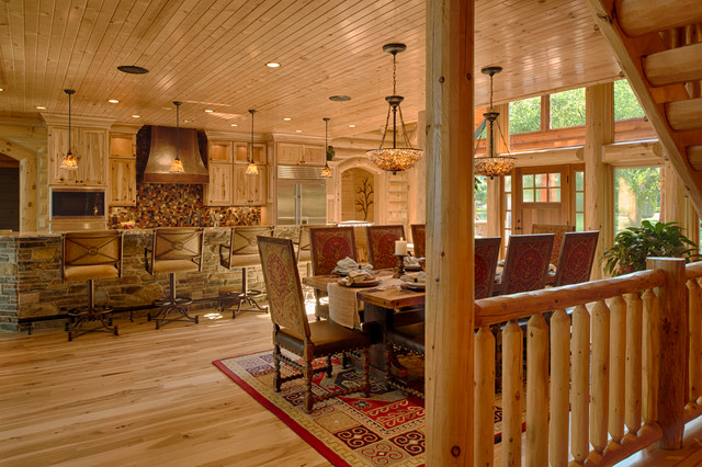 Refined Log Home Rustic Dining Room Other Metro By