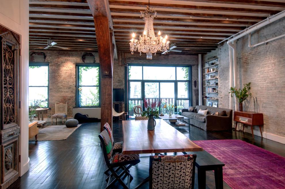 Great room - industrial dark wood floor great room idea in New York