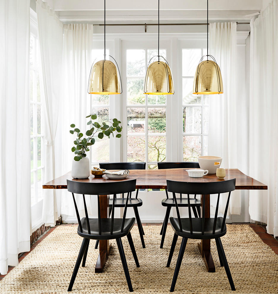 Inspiration for a small transitional dark wood floor kitchen/dining room combo remodel in Portland with white walls