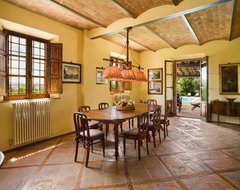 Renovated Tuscan Farm House, Siena, Italy farmhouse-dining-room