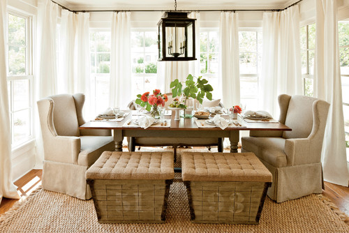 A Black Lantern Style Light Is An Excellent Choice For This Farmhouse Dining Table