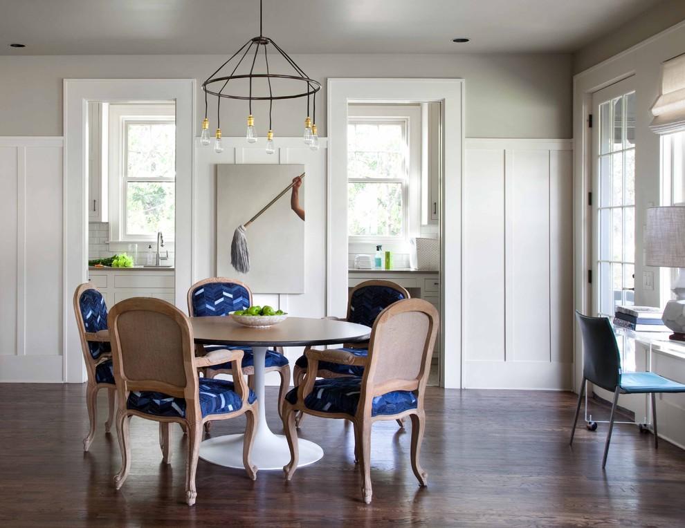 Trendy dark wood floor dining room photo in Austin with gray walls
