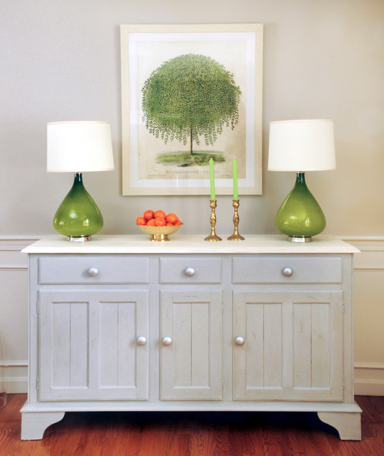 repurposed chalk painted dining room buffet   traditional