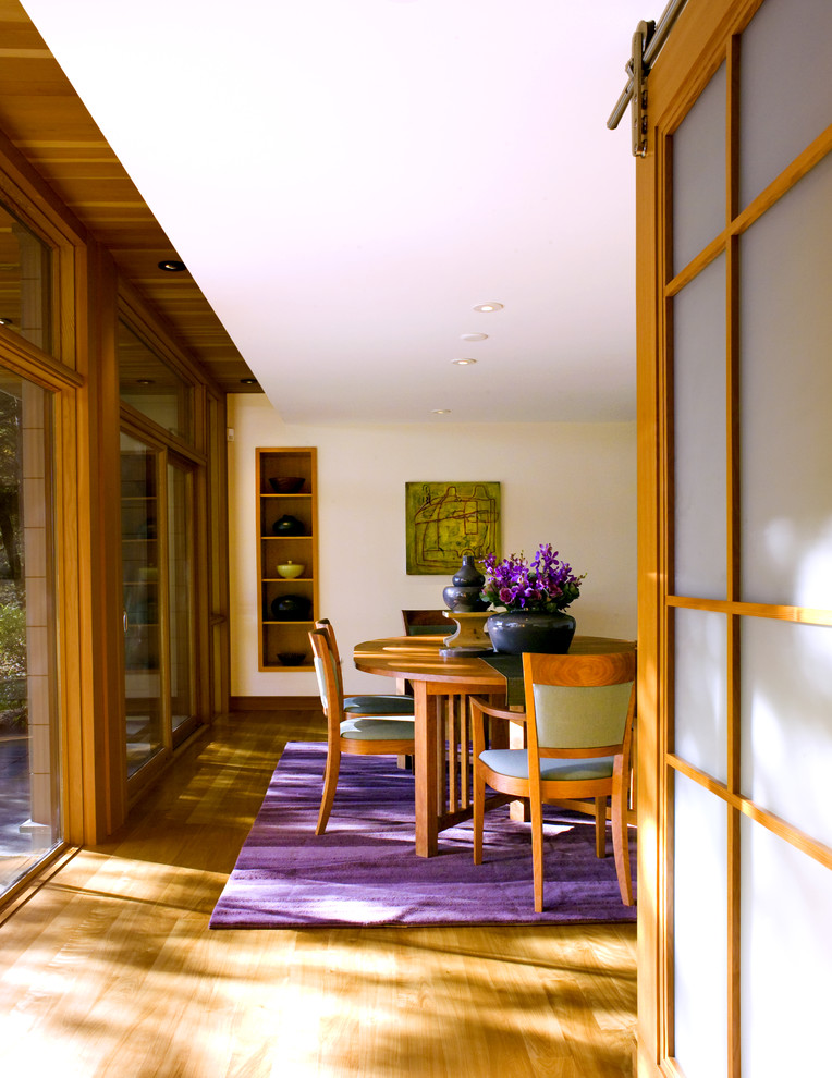 Inspiration for a contemporary medium tone wood floor dining room remodel in Boston with beige walls