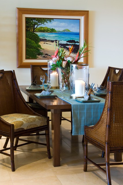 Residential tropical dining room hawaii by for Tropical dining room ideas