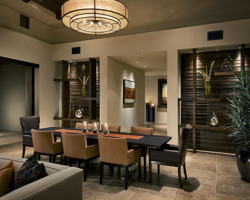 Trendy brown floor dining room photo in Phoenix with beige walls