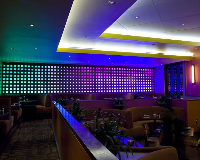 Restaurant Led Lighting Eclectic Dining Room Houston