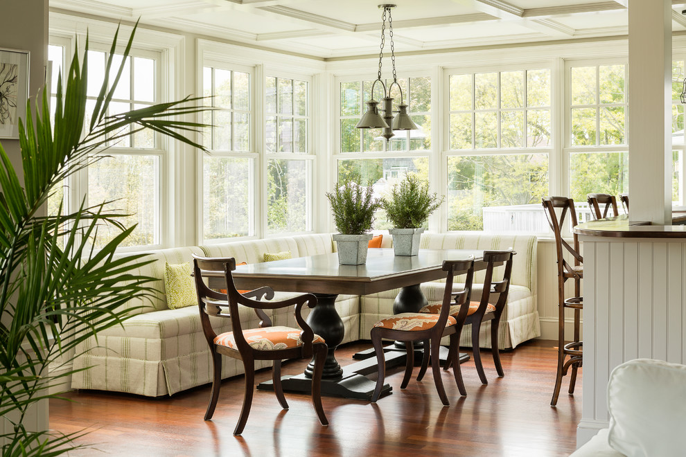 Inspiration for a coastal medium tone wood floor great room remodel in Portland Maine