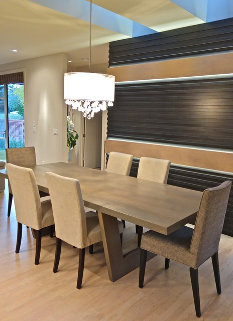Rift White Oak Dining Table Contemporary Room