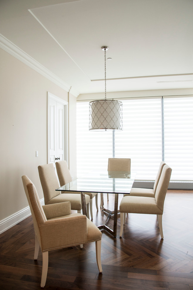 Inspiration for a large transitional medium tone wood floor and brown floor great room remodel in Toronto with beige walls and no fireplace