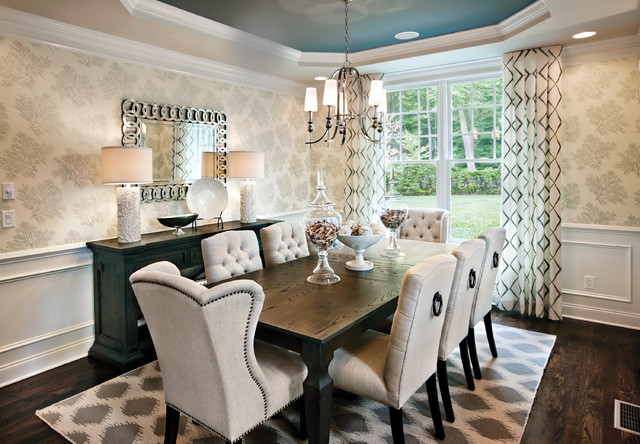Inspiration for a transitional dark wood floor and brown floor dining room  remodel in Chicago with. Table Accessories   Houzz
