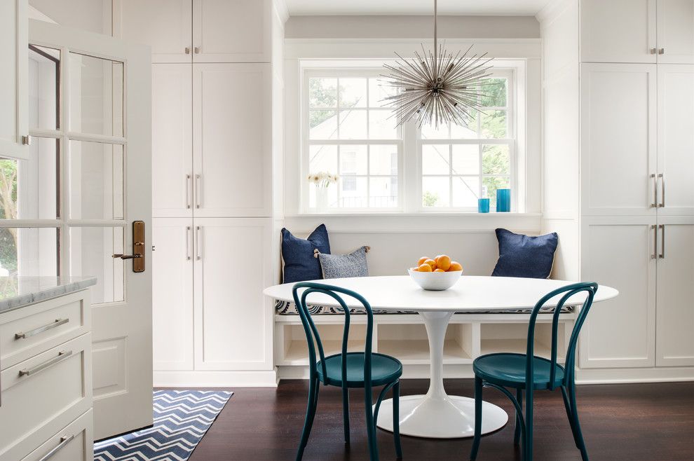 Kitchen/dining room combo - mid-sized transitional dark wood floor kitchen/dining room combo idea in Richmond with white walls and no fireplace