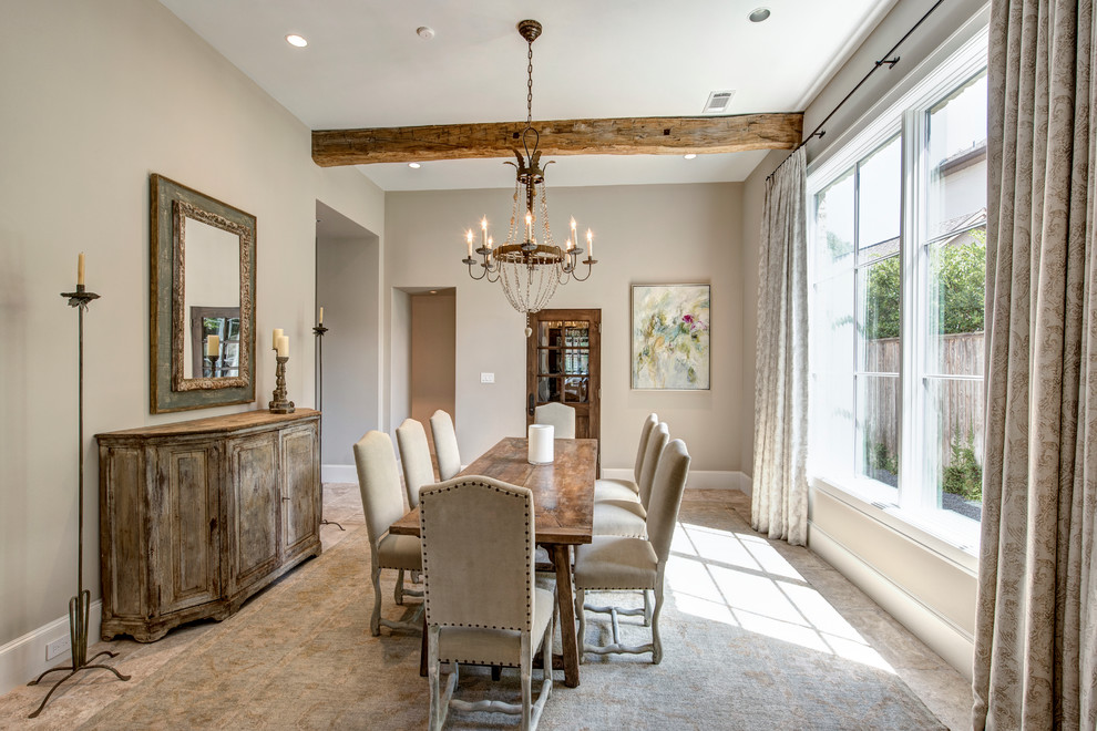Dining room - french country dining room idea in Houston with gray walls