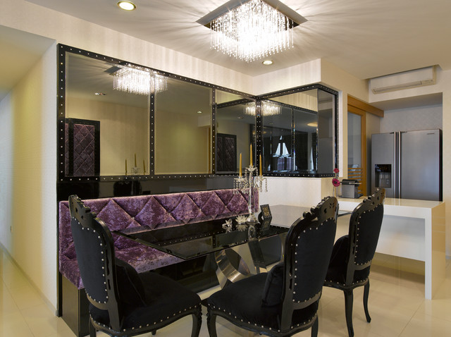 Romantic glamour dining room for Glam dining room ideas