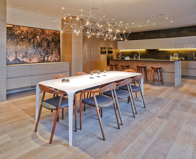 Kitchen/dining room combo - contemporary light wood floor kitchen/dining room combo idea in Vancouver