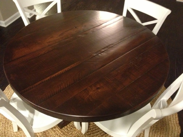 Round Rustic Pedestal Table Dark Finish Eclectic Dining Room Atlanta