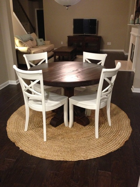 Marvelous Round Rustic Pedestal Table  Dark Finish Eclectic Dining Room