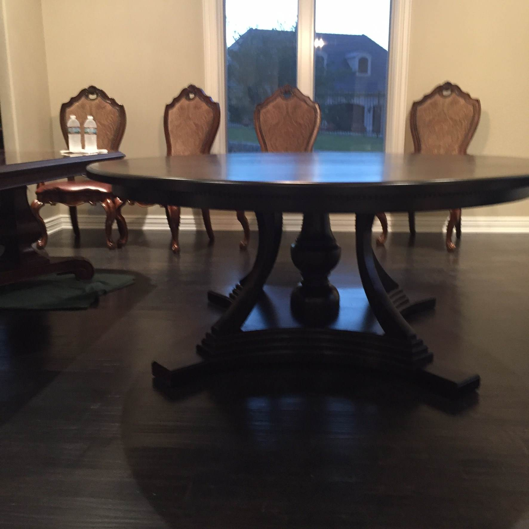 Round Stained White Oak Dining Table