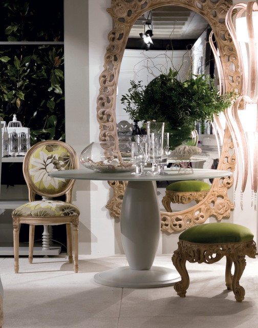 Round Top Dining Table and Oversized Oval Mirror contemporary-dining-room