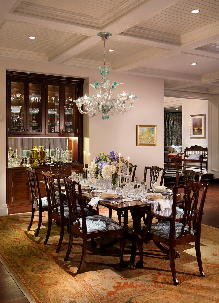 Dining room - traditional dining room idea in Miami with white walls